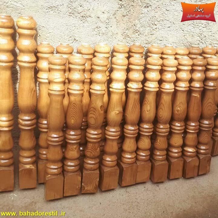 نرده استیل پایه چوبی